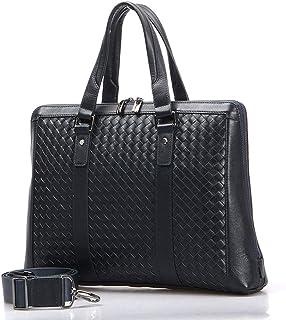 Shoulder Bags Men's Business Tote Cowhide Woven Work Bag Square Briefcase 7L Blue Leather Crossbody Bag Laptop Bag