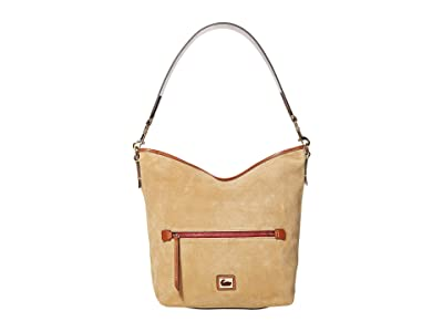 Dooney & Bourke Camden Fielding Suede Hobo (Biscuit/Brandy Trim) Handbags