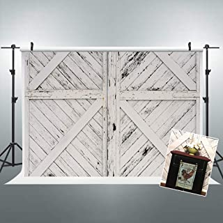 Riyidecor Rustic Barn Door Backdrop Vintage Wooden Photography Background Shabby Chic White and Black 7Wx5H Feet Decoration Celebration Props Party Photo Shoot Backdrop Vinyl Cloth
