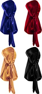 4 Pieces Men's Velvet Durag with Long Tail Soft Durag Headwraps for 360 Waves..