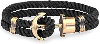 Paul Hewitt Bracciale Uomo con Ancora PHREP - Bracciale Uomo Ancora in Nylon (Nero), Bracciale Uomo Marinaro con Ciondolo ...