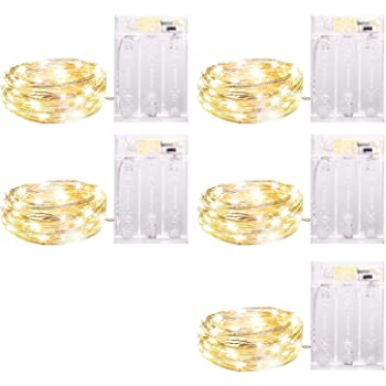 5 Pack Fairy Lights 7 Feet 20 Led Battery Operated String Lights, Waterproof Firefly Steady on/Twinkle Flashing Lights for Christmas Wreath Crafts Home Party Wedding Decorations, Warm White