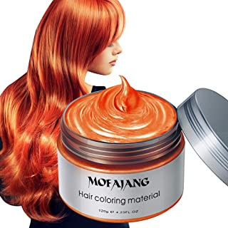 Temporary Hair Color Wax 4.23 oz-Instant Hairstyle Cream Hair Pomades Hairstyle Wax for Party Cosplay Easy Cleaning (orange)