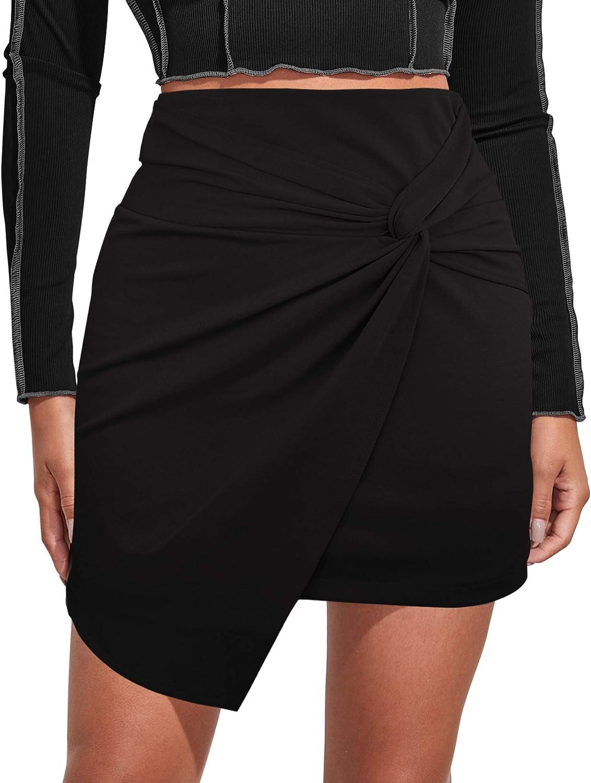 HERLOLLYCHIPS Pencil Skirt for Women High Waist Elastic/Leather/Warp Front Slim Fit Mini Skirt