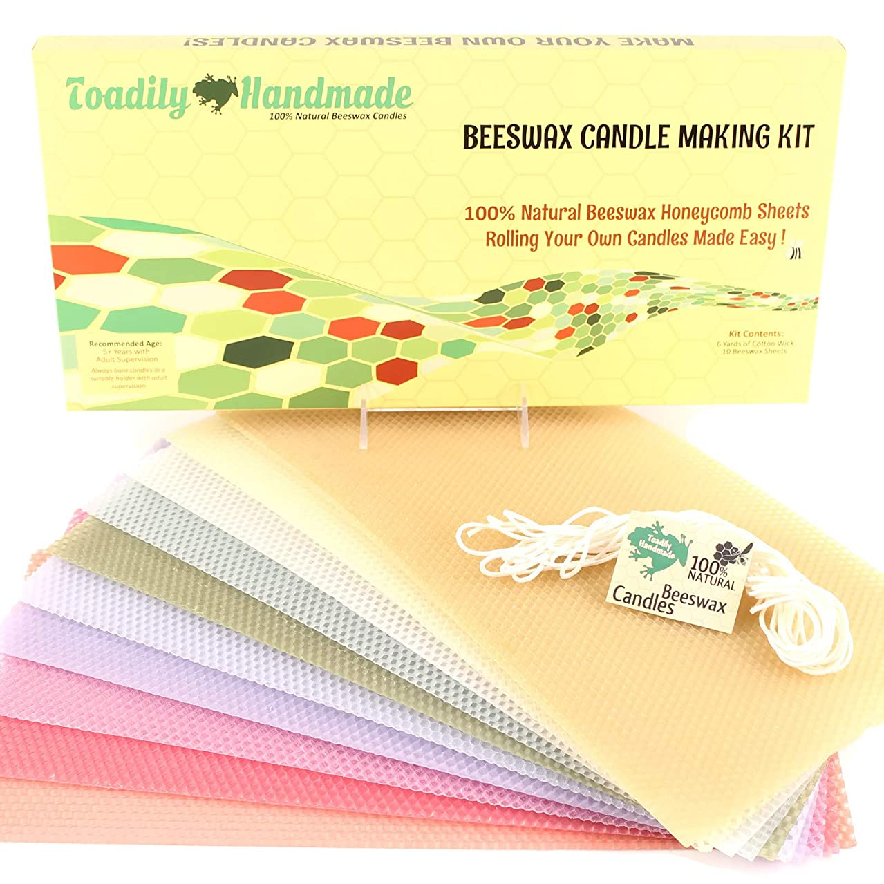 Make Your Own Beeswax Candle Kit - Includes 10 Pastel Colored Full Size 100% Beeswax Honeycomb Sheets and Approx. 6 Yards (18 Feet) of Cotton Wick.