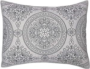 Elegant Life 100% Cotton Medallion Embroidered King Pillow Sham 20'' x 36'', Gray