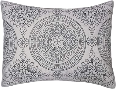 ELEGANT LIFE HOME 100% Cotton Medallion Embroidered King Pillow Sham 20'' x 36'', Gray