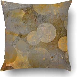 Emvency Throw Pillow Covers Yellow Modern Abstract Grunge Geometric Golden Grey Circles Brown Gold Wall Line Strip Old Polyester 18 X 18 Inch Square Hidden Zipper Decorative Pillowcase