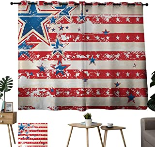 Bensonsve Grommet Blackout Draperies for Bedroom American Flag USA National Star Figures Horizontal Stripes Pride Grunge Design Image Vermilion Blue Balcony Curtains W63 xL45