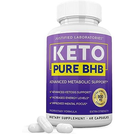 Keto Pure BHB Pills Advanced BHB Ketogenic Supplement Real Exogenous Ketones Ketosis for Men Women 60 Capsules 1 Bottle