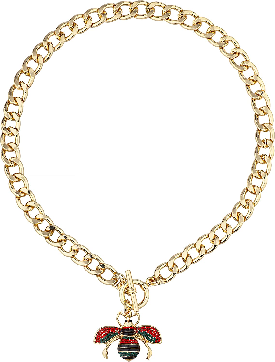 JOTW Goldtone Bee Cham with 10mm Toggle Cuban 17 inch Chain Necklace