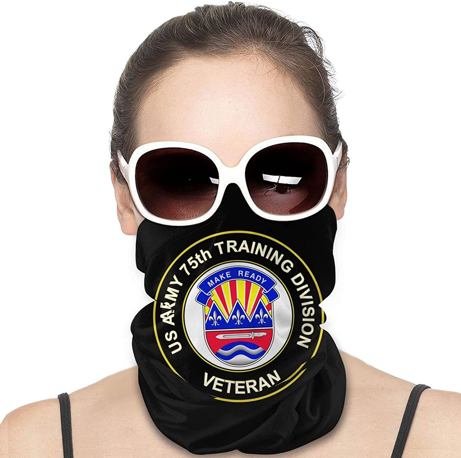 U.S. Army 75th Training Division Veteran Round Neck Gaiter Bandnas Face Cover Uv Protection Prevent bask in Ice Scarf Headbands Perfect for Motorcycle Cycling Running Festival Raves Outdoors
