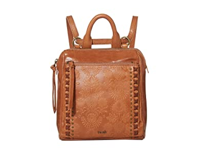 The Sak Loyola Leather Mini Convertible Backpack (Tobacco Floral Embossed) Backpack Bags