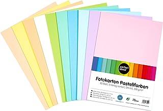 perfect ideaz 50 feuilles pastel DIN-A4 de carton photo, de carton de bricolage, teinté dans la masse, en 10 coloris diffé...