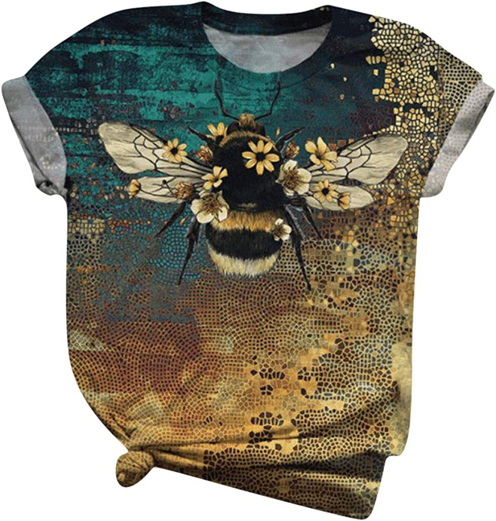 Womens Short Sleeve Tops, naioewe Animal Print Shirts for Women Cute 3D Dolphin Graphic Tees O-Neck T Shirt Blouse Tops