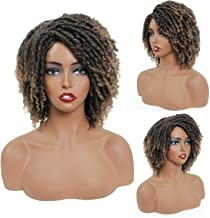 """DAIXI 8"""" Synthetic Dreadlocks Twist Wigs for Black Women Ombre Braided Faux Locs Crochet Hair Wigs with Curly Ends Heat Re..."""