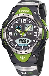 PASNEW Analog Digital Dual Time Watch Waterproof Sports Casual Boys Wrist Watches (1018ad Green)