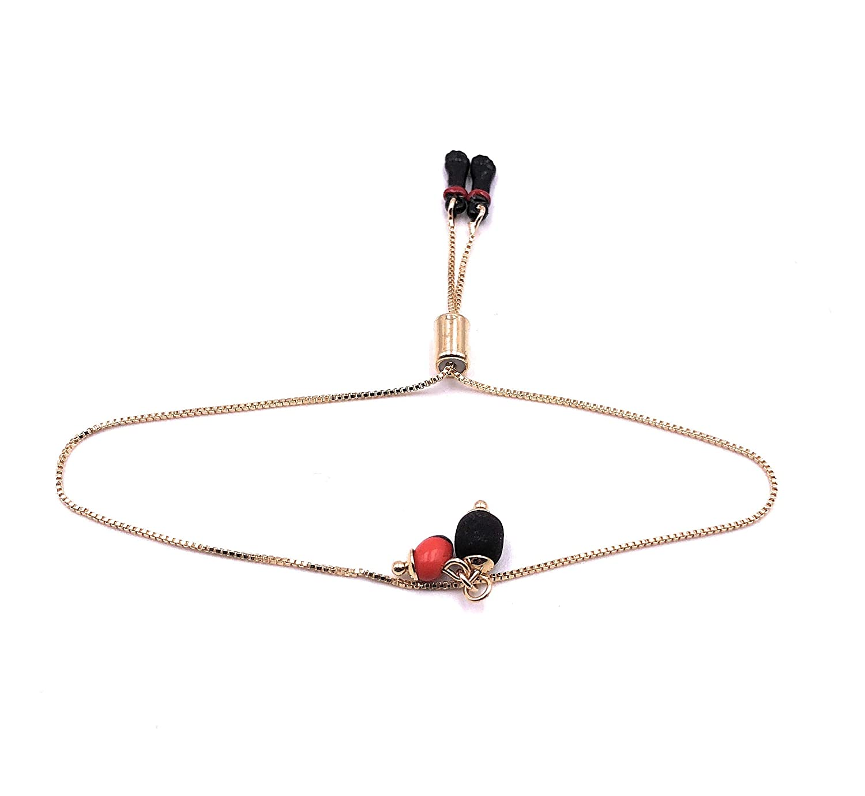 Peony and Azabache Bolo Max 66% OFF Bracelets for 18K Adju Women Gold Long-awaited Plated