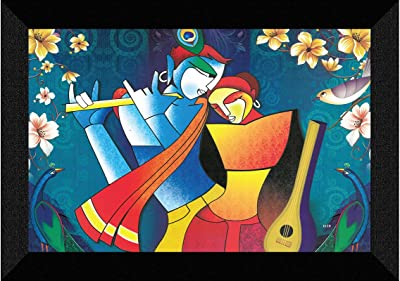 SAF Radhe Krishna modern art UV Textured Synthetic Frame Painting SAFK119