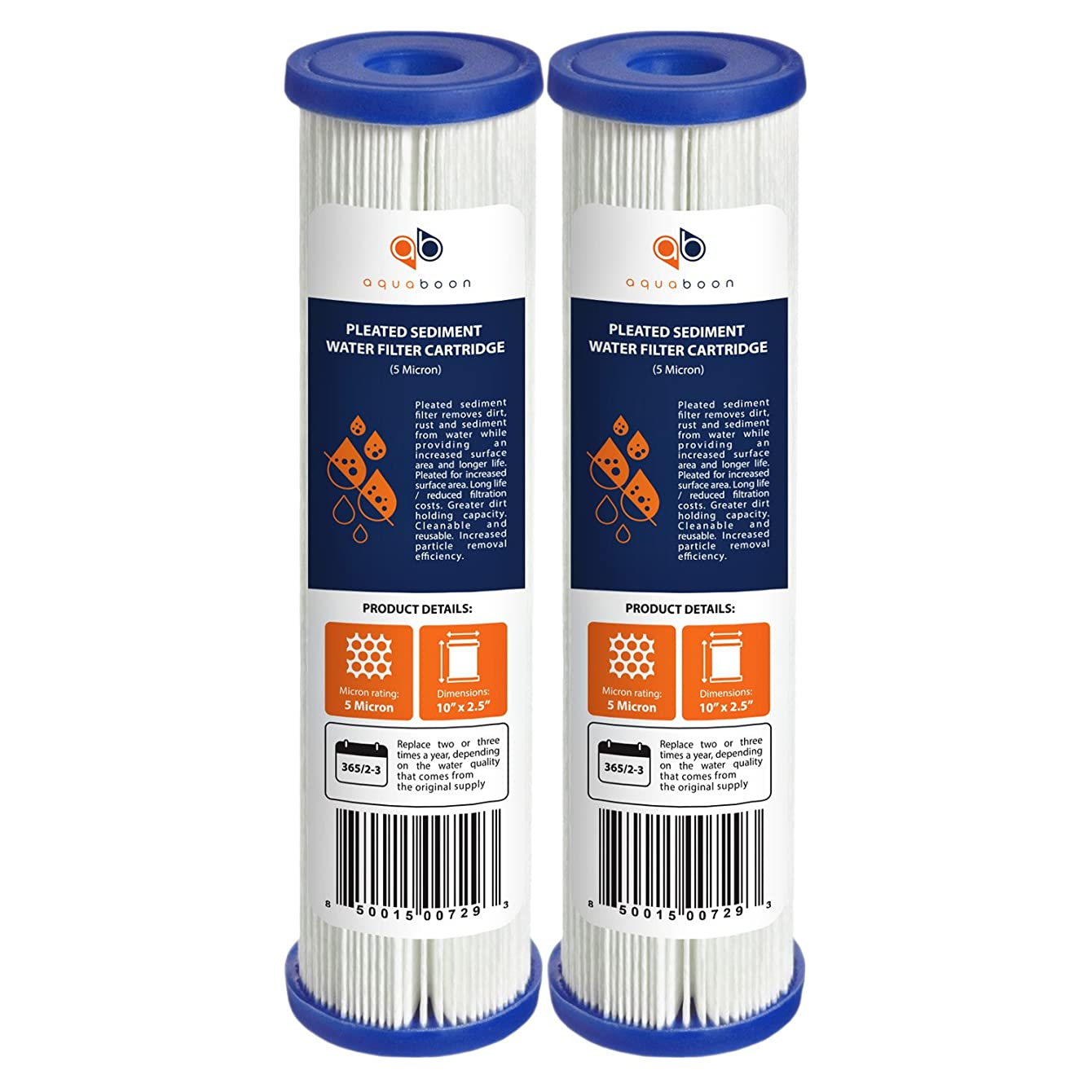 Aquaboon 2-Pack of 5 Micron Pleated Sediment Water Filter Cartridge 10