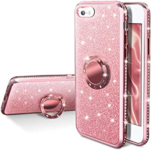 iPhone SE Case, iPhone 5S / 5 Case, Silverback Girls Women Bling Glitter Sparkle Cute Case with Ring Kickstand,Luxury Diamond Bumper Slim Girly Protective Cover for Apple iPhone SE 5S 5 -Rose Gold