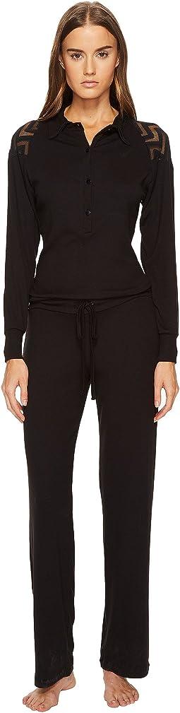 ELSE Chevron Cashmere Blend Polo Collar Jumpsuit