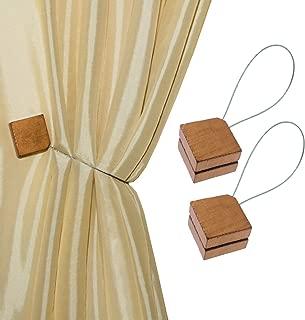 MagnaClips Curtain Tiebacks or Holdbacks, Curtain Clips - Magnetic Wood Buckle, Set of 2, Quadra (Bronze)
