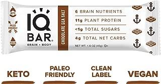 IQ BAR Brain + Body Bars, Chocolate Sea Salt | Keto, Paleo-Friendly, Vegan | 11g Protein, <1g Sugar, 4g Net Carbs | Non-GMO, Gluten-Free, No Sugar Alcohols | 12-Count