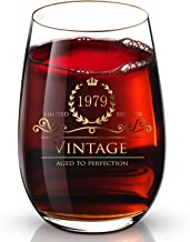 1979 40th Customized 24K Gold hand crafted luxury drinking and wine glass for wedding,anniversary,birthday,holidays and any noteworthy occasions,it's perfect gifts ideal for bridesmaids,wife and son