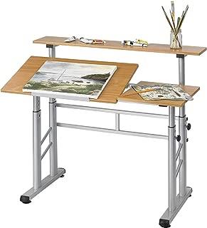 Safco Products Split Level Drafting Table, Height-Adjustable, Medium Oak