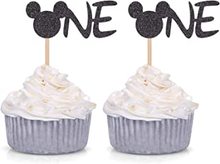 24 Counts Black Glitter Mickey Mouse Inspired Cupcake Toppers Minnie One Baby Birthday Party Decorations