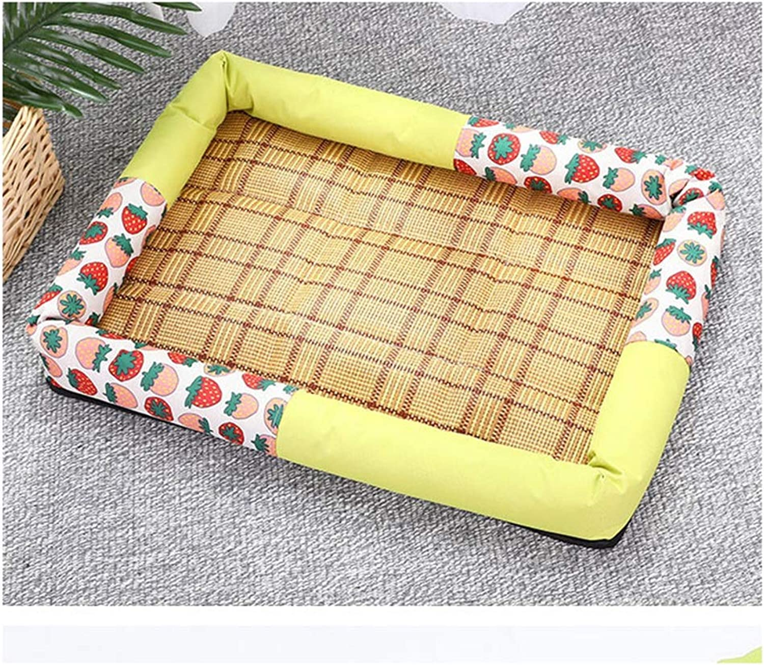 Pet nest, Bamboo and Rattan Seats Cool and Cool, cat and Dog Bed, (Large Size, 66x57x7cm) (Size   40X31X7CM)