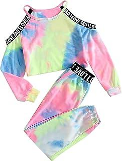 ملابس للبنات الصغار التعادل صبغ قمم البلوز دون الكتف + بنطال رياضي أزياء الخريف الشتاء