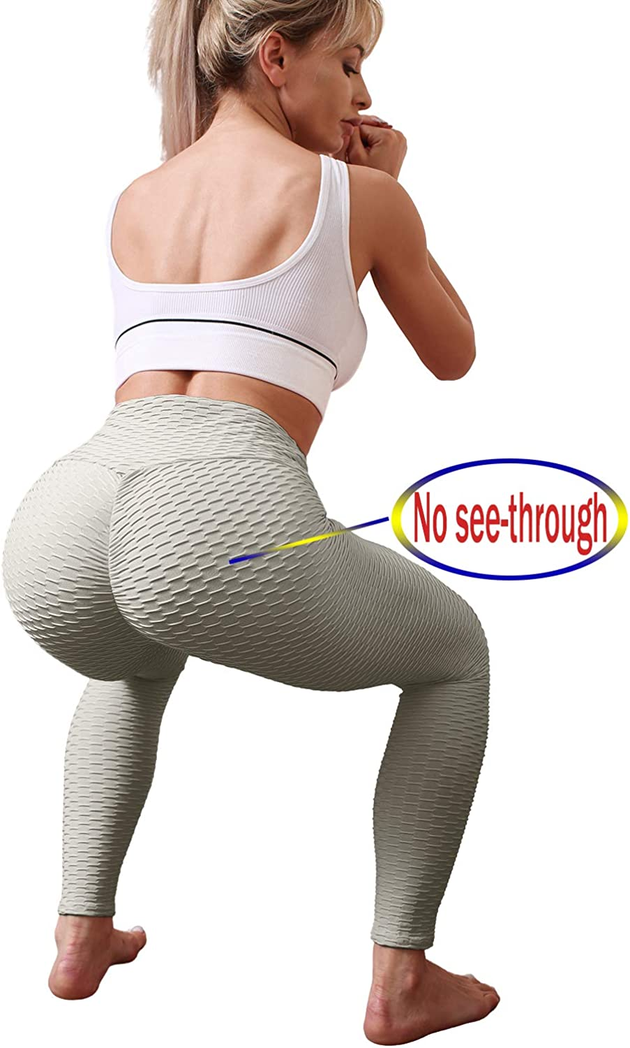 NORMOV Womens Non See-Through Butt Lifting Honeycomb Yoga Pants High Waisted Textured Running Tights Workout Leggings