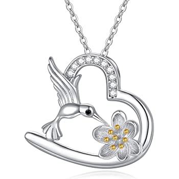JUSTKIDSTOY Hummingbird Heart Necklace 925 Sterling Silver Hummingbird Jewelry Lotus Flower Necklace Hummingbird Gifts for Women Mother's Day