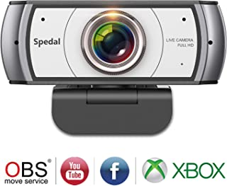 Spedal Full HD Webcam 1080p, Streaming Cámara Web con Micrófono, Ultra Gran Angular de 120 Grados, USB Webcam para Xbox OBS XSplit Skype Facebook, Compatible con Mac OS Windows 10/8/7