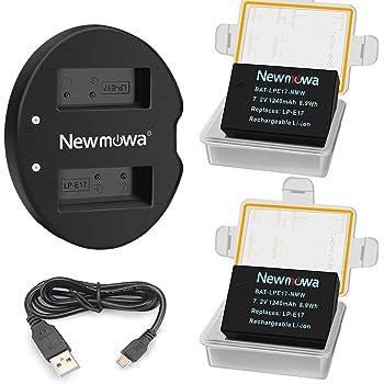 LP-E17 Newmowa 互換バッテリー 2個 + 充電器 対応機種 Canon LP-E17 Canon EOS M3,M5,M6,M6 Mark II,200D,250D,750D,760D,800D,Rebel T6i,T6s,8000D,9000D,Kiss X8i,Kiss X9,Rebel SL3 (ハーフデコード)