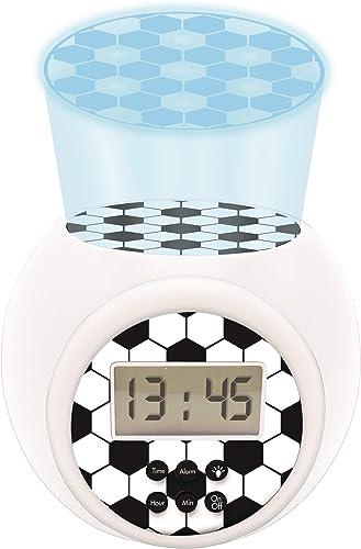Lexibook- Réveil projecteur Football Enfant avec Fonction Alarme et répétition Snooze, veilleuse avec minuterie, écra...