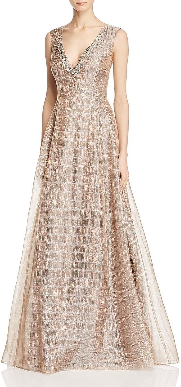 Aidan Mattox Womens Metallic Organza Jeweled Formal Dress