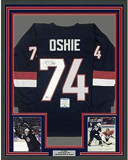 Autographed T.J. Oshie Jersey - FRAMED TJ 33x42 United States Blue BAS COA - Beckett Authentication - Autographed NHL Jerseys