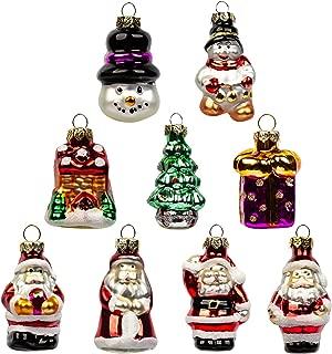 KINGYEE Christmas Miniature Ornaments Mini Glass Christmas Figurines Tree Decorations Santa Snowman for Trees
