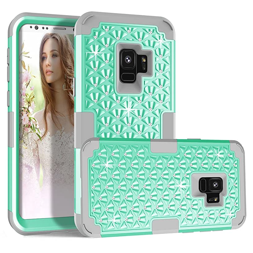 Galaxy S9 Case, MCUK 3 In 1 Sparkly Glitter Bling Rhinestone Heavy Duty Shockproof Hybrid Hard PC Soft Silicone Rubber Protective Case for Samsung Galaxy S9 5.8 Inch 2018 Release (Mint Green+Grey)