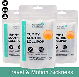 Nature Soothie Tummy Soothie: Honey Lollipops with Herbal extracts That Support Stomach Comfort (Peppermint & Chamomile Extract) - 3 Count x 3 Packs