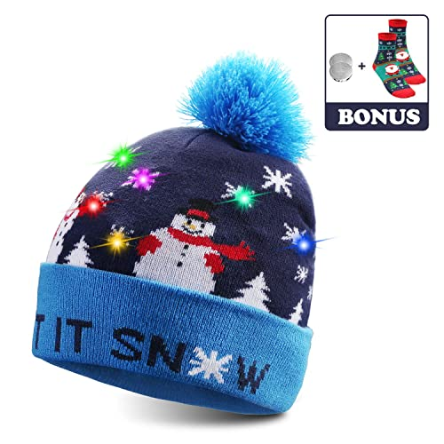 Winter Christmas Reindeer Thick Hat /& Scarf Party Set Boys Girls Unisex Blue Red
