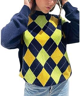 Suéter de manga larga para mujer, de Argyle Plaid Y2k, de gran tamaño, vintage, casual, para exteriores, abrigo de punto ...