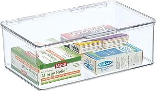 mDesign Boite de Rangement en Plastique avec Couvercle pour la Cuisine, Le Garde-Manger ou Le Bureau – bac en Plastique sa...