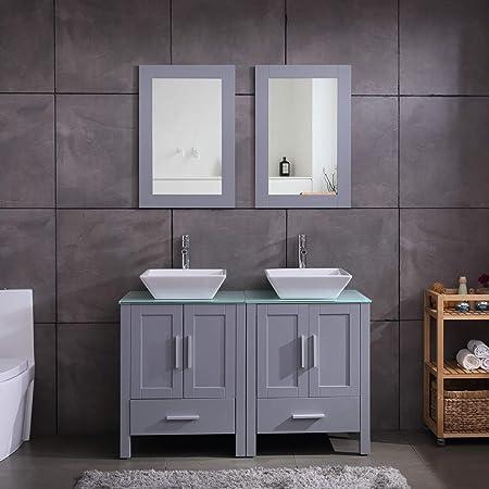 Amazon Com 48 Double Sink Bathroom Vanity Cabinet Combo Glass Top Grey Paint Mdf Wood W Faucet Mirror Drain Set Kitchen Dining