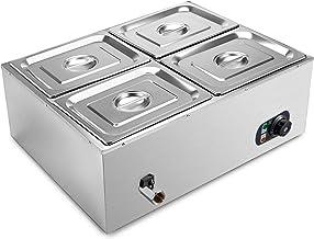 VEVOR Bain Marie DTC4C, Chauffe plat 220v Chauffe-plat Electrique Commercial avec 4 Bacs Casseroles en Acier Inoxydable po...