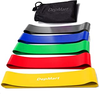 DepMart Resistance Bands - Set of 5 Rubber Latex Exercise Bands, Resistance Loops Workout Fitness Band for Physical Therap...