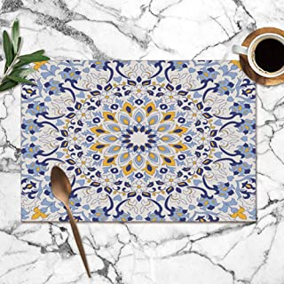 shower curtain doormat Colorful Turkish Motif Hand Abstract Washable Placemats for Dining Table Double Fabric Printing Polyester Place Mats for Kitchen Table Set of 6 Table Mat 12